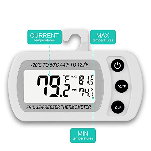 2 Pack Digital Refrigerator Freezer Thermometer,Max/Min Record Function with Large LCD Display by LinkDm (Image #1)