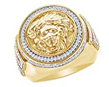 Wishrocks Round Cut CZ Men's Versace Style Wedding Band Hip Hop Ring 925 Sterling Silver