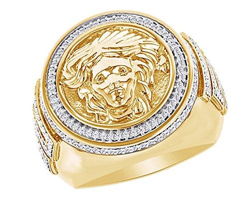 Wishrocks Round Cut CZ Men's Versace Style Wedding Band Hip Hop Ring 925 Sterling Silver by Wishrocks