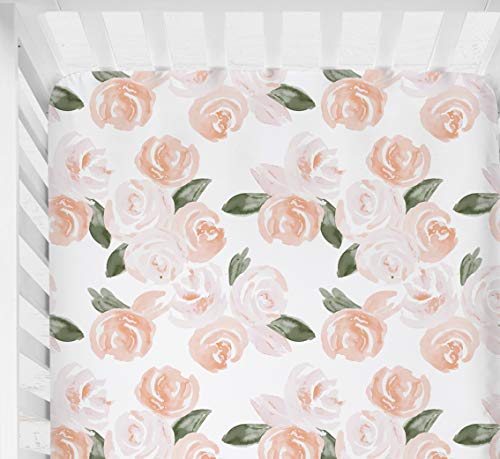 Sahaler Floral Crib Sheet for Girl Boy Baby Fitted Crib Sheets for Standard Crib and Toddle Mattresses-Blush Watercolor