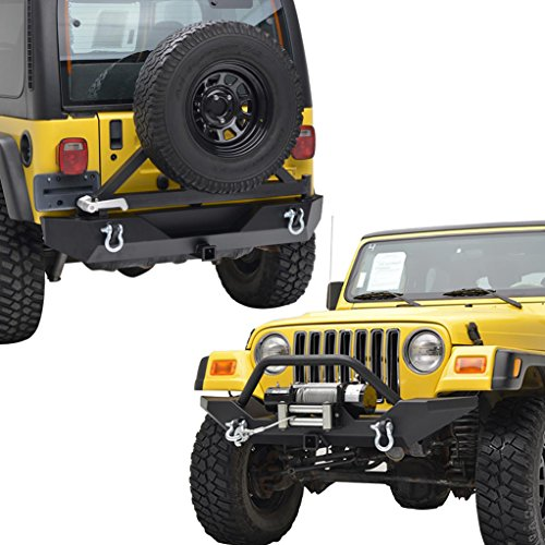 Yj Rock (E-Autogrilles 87-06 Jeep Wrangler TJ/YJ Black Textured Rock Crawler Front Bumper with 2