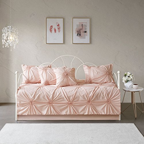 Madison Park Leila Cotton Blend Shabby Chic Design Daybed Quilt Set, Blush
