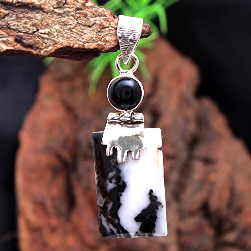 Adorable White Buffalo Turquoise & Black Onyx Gemstone Charm Pendant 5.31 Gms 925 Sterling Silver Jewelry Vintage Silver Pendant Antique Jewelry Silver Jewelry