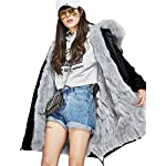 S.ROMZA Women Real Raccoon Fur Collar Parka Real Fur Liner Long Hood Coat (XXX-Large, Black Outer & Gray Liner)