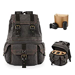 Best Epic Trends 51wFrmvEDNL._SS300_ Kattee Canvas Camera Backpack Professional DSLR/SLR Rucksack, Camera Case Compatible for Nikon Canon Sony Camera (Dark…