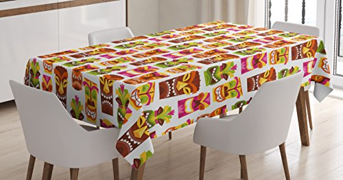 Ambesonne Tiki Bar Decor Tablecloth, 60's Retro Inspired Cute Hawaiian Party Happy Tiki Statues Pattern Colorful, Dining Room Kitchen Rectangular Table Cover, 60 W X 84 L Inches, Multicolor ()