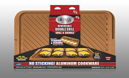 Gotham Steel Titanium and Ceramic Nonstick Large Rectangular Double Grill - Copper