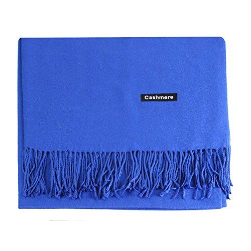 (L'vow Women's Soft Cashmere Blend Evening Scarves Pashmina Cape Shawl Wraps Stole (Royal Blue))