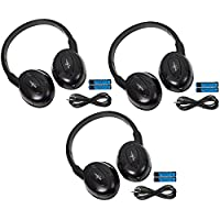 3 Pack of Two Channel Fold Flat Adjustable Universal Entertainment System Infrared Headphones 3 Additional 48 3.5mm Auxiliary Cords Wireless IR DVD Player Head Phones Car TV Video Audio Listening