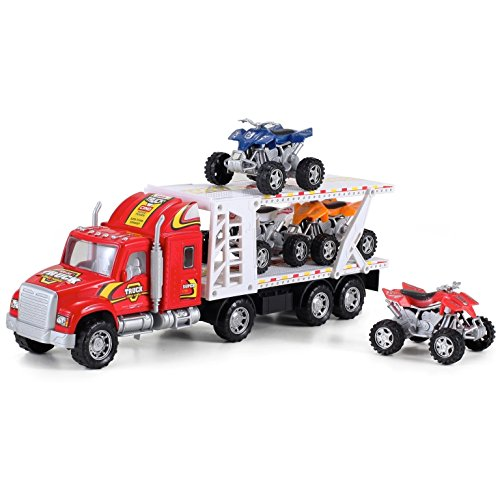 ATV Hauler Big Rig Toy Truck 1:48 Scale Auto Carrier Transporter (Assorted Colors) ()