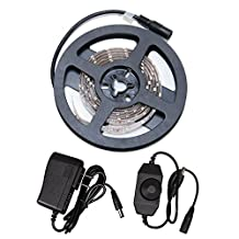 1.5M Flexible LED Strip 3528 SMD 90 LEDs, Cool White/Daylight White, Dimmable LED Tape Waterproof IP65, Super Bright 60 LEDs/M, LED Band with 1A Power Supply Set and 4A Dimmer Switch, requires DC 12V, Light Strips, For Home Indoor and Outdoor Decoration