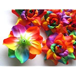 """(24) Silk Rainbow Roses Flower Head - 1.75"""" - Artificial Flowers Heads Fabric Floral Supplies Wholesale Lot for Wedding Flowers Accessories Make Bridal Hair Clips Headbands Dress 2"""