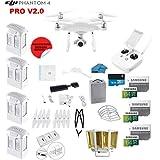 DJI Phantom 4 PRO V2.0 Quadcopter Drone with 1-inch 20MP 4K Camera KIT + 4 Total DJI Batteries + 3 64GB Micro SDXC Cards + Card Reader 3.0 + Snap on Prop Guards + Range Extender + Charging Hub