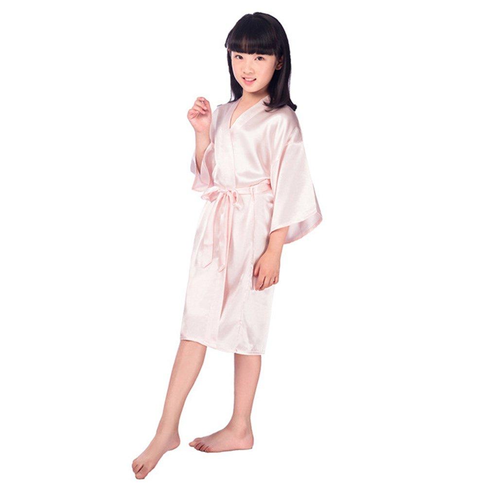 qiansu Seda para ni/ños Seda de Kimono Puro Bata Bata Vestidos de Kimono Ropa Interior de ni/ña de Flores Ropa de Dormir