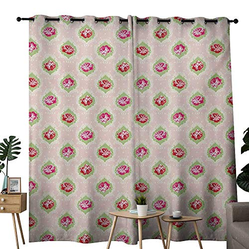 "NUOMANAN Blackout Curtains 2 Panels Shabby Chic,Roses Damask Pattern Botanical Delicate Antique Old Fashioned Style Dotted,Multicolor,for Room Darkening Panels for Living Room, Bedroom 52""x72"""