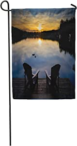 """Semtomn 28""""x 40"""" Garden Flag Two Chairs Sitting on Wood Dock Facing Calm Lake at Sunset Across The Water are Home Outdoor Decor Double Sided Waterproof Yard Flags Banner for Party"""