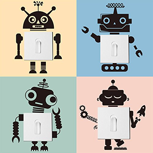 decalmile 4 Pieces Robots Light Switch Stickers Vinyl Wall Switch Decor Decals Art Mural for Baby Nursery Room Kids Bedroom Home Decoration (Black)