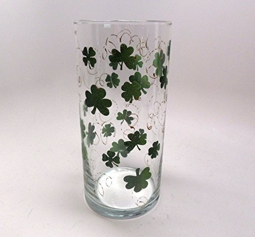 - Hand painted St. Patrick's Day Vase with clovers with gold swirls
