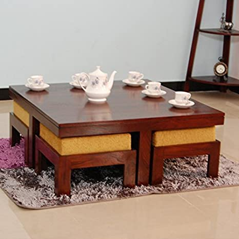 Unique Furniture Sheesham Wood Coffee Table For Living Room Center Table With 4 Stools Walnut Finish With Yellow Cushion