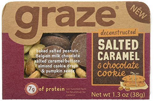 Graze Salted Caramel & Chocolate Cookie Mix with Peanuts, Milk Chocolate Salted Caramel Buttons, Almond Cookie Drops & Pumpkin Seeds, 1.3 Ounce Box, 9 Pack