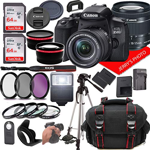 Canon EOS 850D (Rebel T8i) DSLR Camera w/Canon EF-S 18-55mm F/4-5.6 is STM Zoom Lens + Case + 128GB Memory (28pc Bundle)