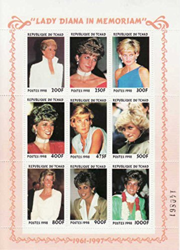Diana Sheet Princess - Lady Diana in Memoriam (Princess Of Wales), 9 Stamp Sheet, Chad 1998, Scott 774