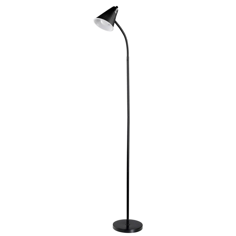 Novogratz LED for Life 59'' 1-Light LED Floor Lamp, Matte Black Finish, Plastic Mesh Shade, 1x A19 10W, 60W Equivalent LED Bulb Included 12708