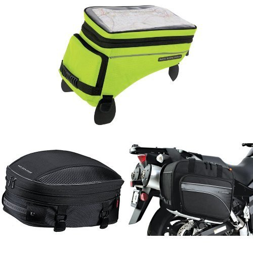Nelson-Rigg (CL-1055 Hi-Visibility Yellow Adventure Touring Tank Bag, CL-1060-S Black Sport Tail/Seat Pack, and (CL-855) Black Touring Adventure Saddlebag Bundle ()