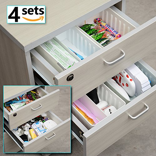 4 Sets Plastic Adjustable Drawer Dividers Storage Box for Jewelry Cabinet Junk Desk Drawer Dividers Organizers Containers White