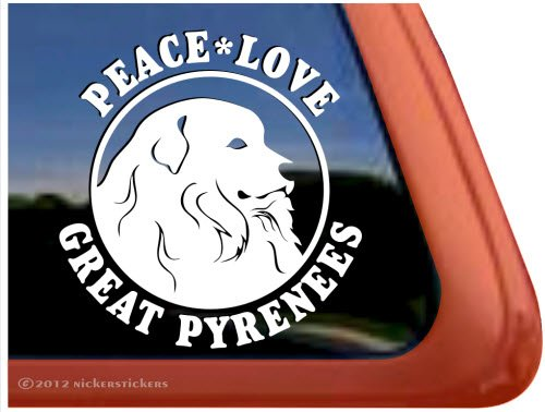 Peace Love Great Pyrenees ~ Great Pyrenees Vinyl Window Auto Decal ()