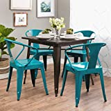 Set of 4 Turquoise French Bistro Metal Chairs in Glossy Powder Coated Finish Steel Stackable Dining Includes ModHaus Living (TM) Pen