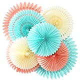 Benvo Basics Party Fans Peach Cream Tiffany Blue 8pcs Honeycomb Tissue Paper Fan Flower for Baby Shower Wedding Bridal Shower Birthday Decor Tissue Pompom Flower Hanging Paper Craft
