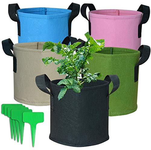 kingleder 5-Pack 1 Gallon Fabric Pots, Heavy Duty Nonwoven Fabric Planting Grow Bags Bulk, Indoor Flower Pots with Handles Green Black Blue Pink Light Brown