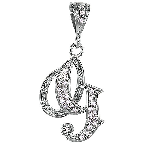 Sterling Silver Large Script Initial Letter A Pendant w Cubic Zirconia Stones, 1 1 2 inch high