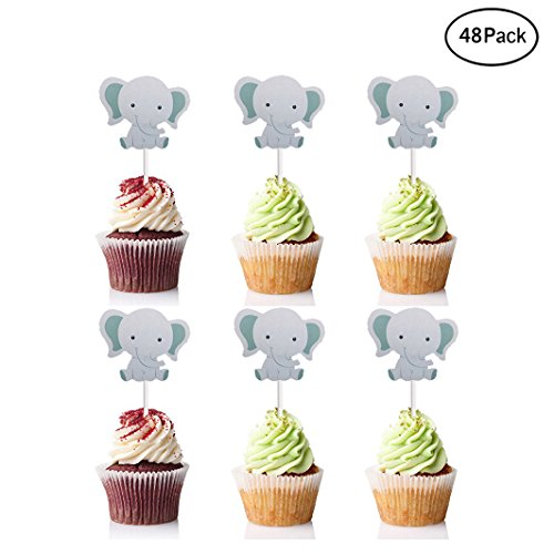 Finduat 48 Pack Cute Baby Elephant Cupcake Toppers Birthday Party or Baby Shower Food Picks Decor and Cupcake Party]()