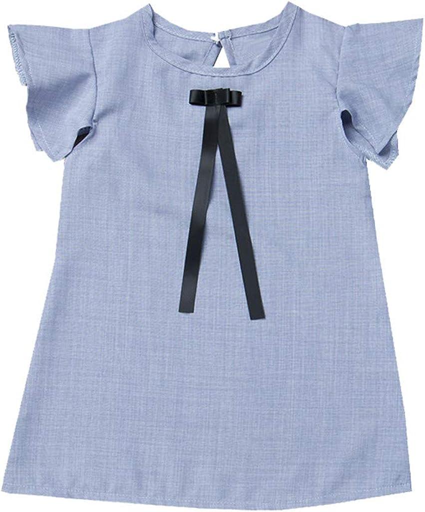 MCYs Sommer-S/äuglingsbaby-M/ädchen-Fliegen-H/ülsen-Bogen-festes Druck-Kleid kleidet Kleider