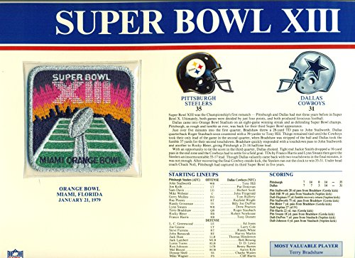 Super Bowl XIII Official Patch Pittsburgh Steelers vs Dallas Cowboys at Orange Bowl (Pittsburgh Steelers Fan Memories)