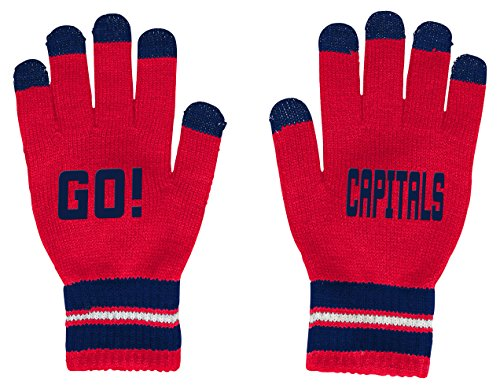 OuterStuff NHL Washington Capitals Youth Boys Touch Screen Gloves, Red, One (Nhl Hockey Gloves)