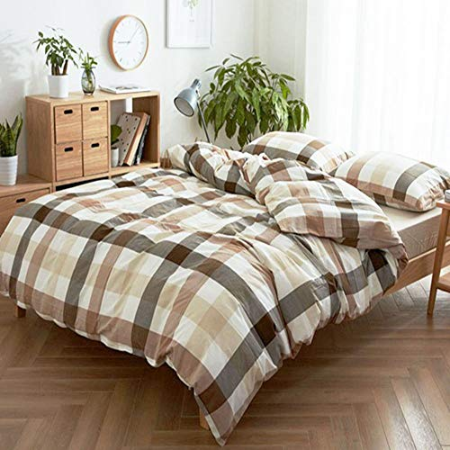 HIGHBUY Geometric Grid Queen Bedding Set Full Washed Cotton Comforter Duvet Cover Set Full Queen 3 Piece Duvet Cover with Zipper,Lightweight Soft Boys Men Comforter Cover Queen with 2 Pillowcase
