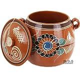 Olla de Barro Decorada con tapa Decorated Clay Pot with lid Traditional Lead Free