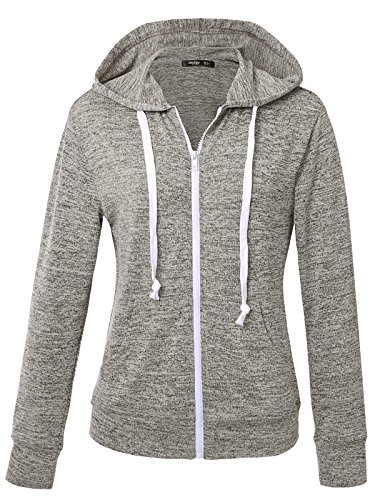 JayJay Women Athlete Stretchy Full Zip Jersey Fashion Running Hoodie Long Sleeve Jacket