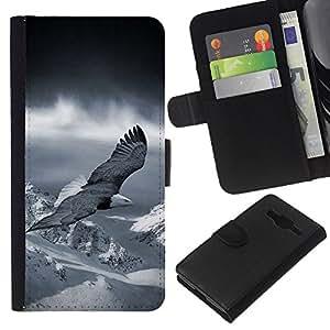 Supergiant (Flying Eagle America Patriotic Bald Snow) Dibujo PU billetera de cuero Funda Case Caso de la piel de la bolsa protectora Para Samsung Galaxy Core Prime / SM-G360