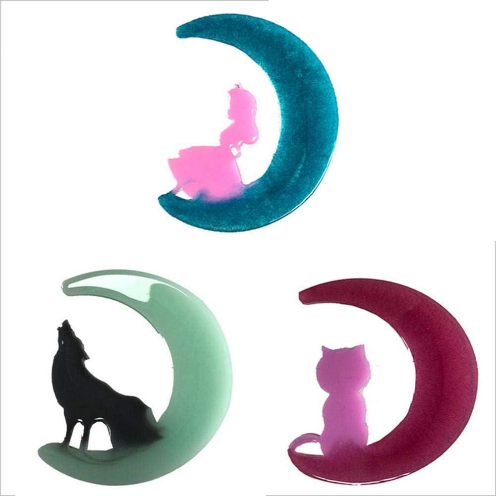 de loup de lune fille de chat de pendentifs en r/ésine /époxy JuanYa Lot de 3 moules en r/ésine /époxy en forme de lune