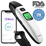 FDA Approved, Accurate Easy Instant Digital Baby Forehead & Ear Thermometer, Bluetooth App, Tri-Mode Infrared Temperature Reader, Quick Medical Fever Notifier, for Kids, Toddlers Infant, Adults, Pets