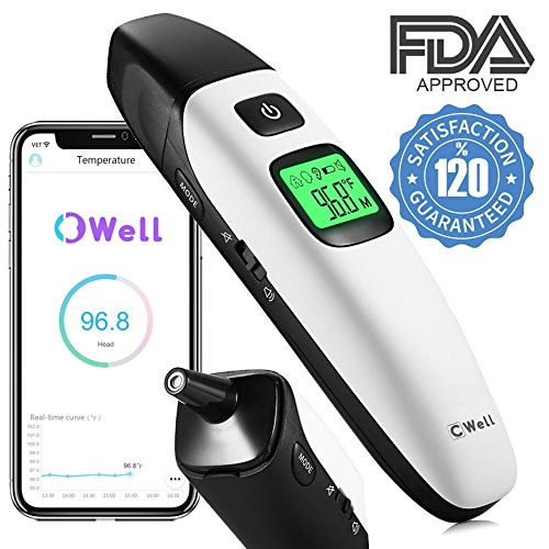 Baby Ear Forehead Thermometer, Bluetooth iOS Android APP, Sm