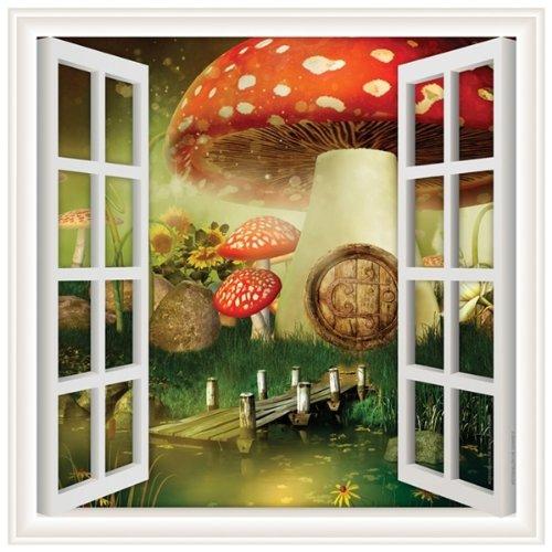 Walls 360 Peel & Stick Wall Decal Window Views Mushroom (54 in x 54 in)