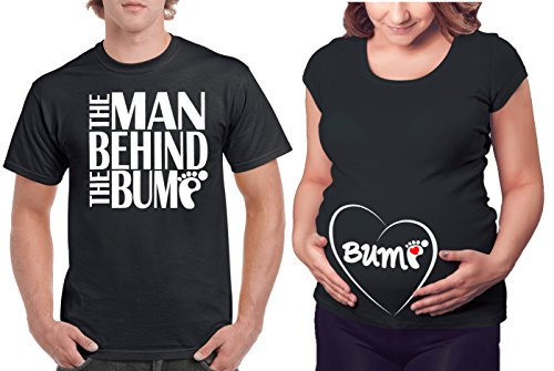 Matching Maternity Couple Shirts - The Man Behind The Bump & Belly Bump T Shirt