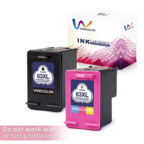 Vividcolor Compatible with HP 63XL 63 Ink Cartridge High Yield 1 Black 1 Tri-Color Work with HP DeskJet 1112 2130 3630 2132 3633 3634 OfficeJet 4650 3830 3831 3833 4655 Envy 4520 4516 4524 Printer