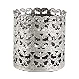 Heart Patterned Vintage Hairbrush Holder Antique Make up Brush Holder Makeup Vanity Organizer (Tin (Matt Gray), Medium)