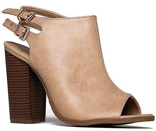 (Peep Toe Buckle Bootie ?Stacked Mule High Heel - Open Toe Cutout Ankle Strap - Franny by J. Adams)